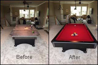 Expert pool table recovering during setup in Westerville